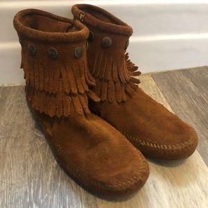 Minnetonka Double Fringe Boot Moccasins